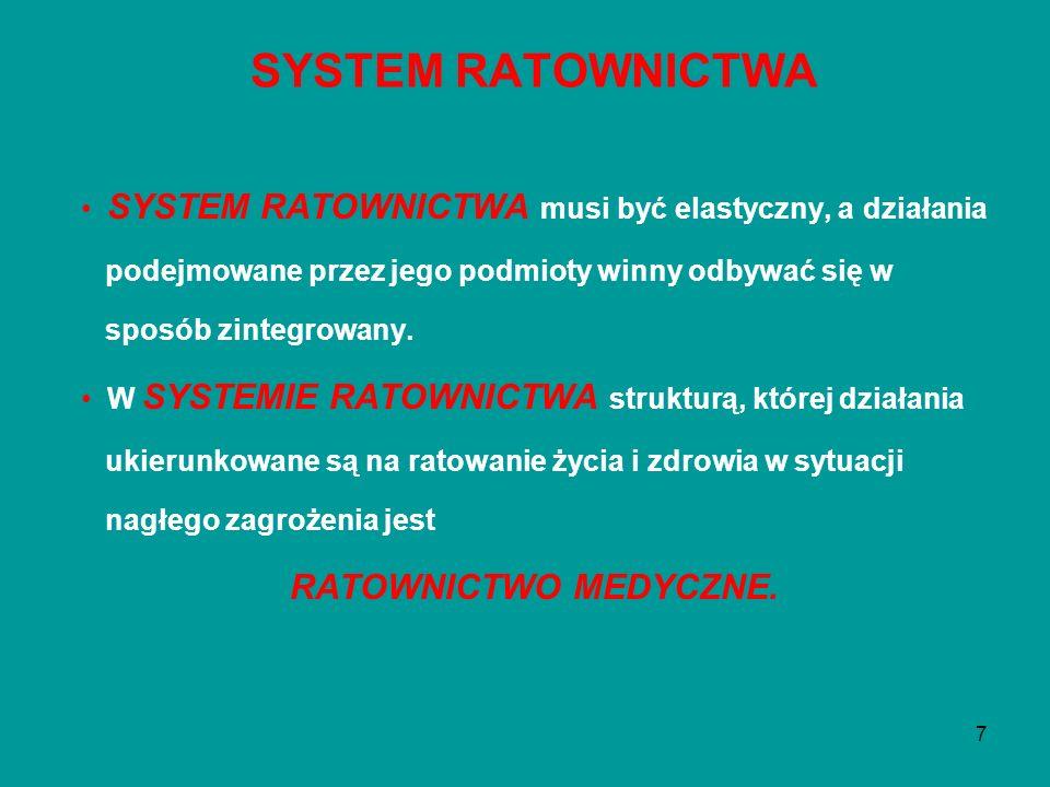 7 SYSTEM RATOWNICTWA musi być elastyczny, a działania podejmowane przez jego podmioty winny odbywać się w sposób zintegrowany. W SYSTEMIE RATOWNICTWA