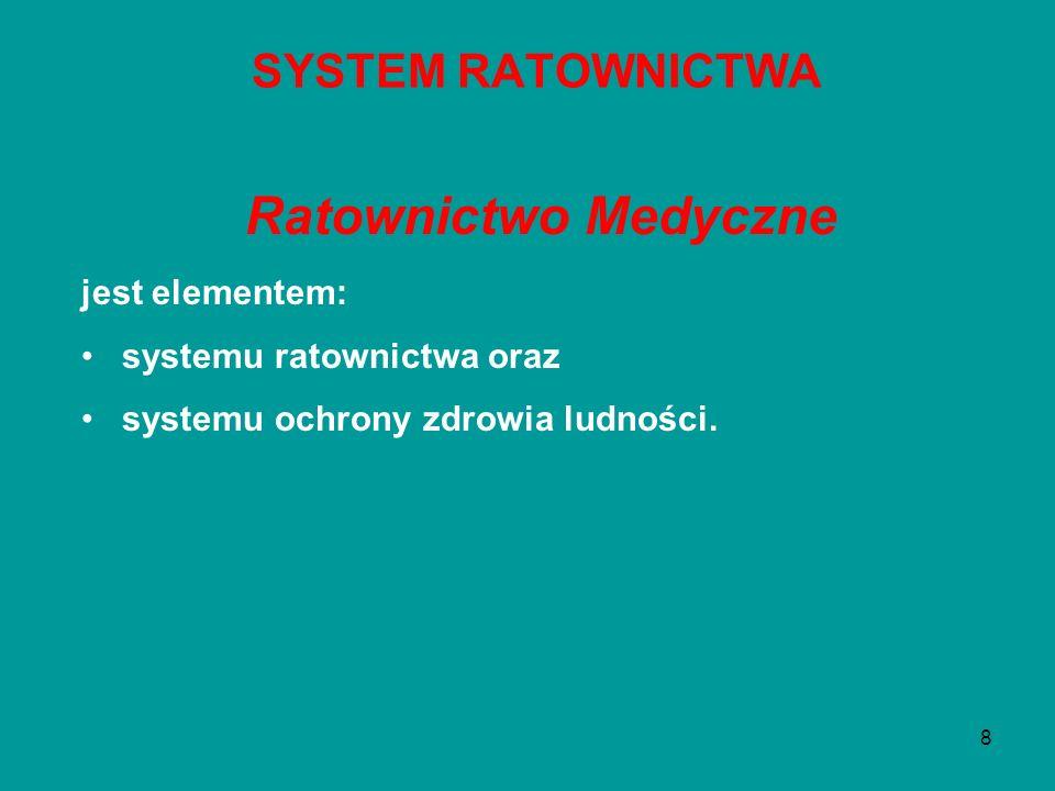 8 Ratownictwo Medyczne jest elementem: systemu ratownictwa oraz systemu ochrony zdrowia ludności. SYSTEM RATOWNICTWA