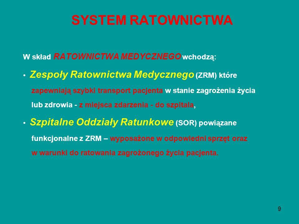 9 W skład RATOWNICTWA MEDYCZNEGO wchodzą: Zespoły Ratownictwa Medycznego (ZRM) które zapewniają szybki transport pacjenta w stanie zagrożenia życia lu