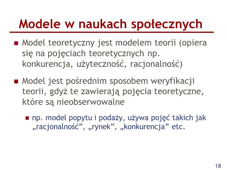 18 Modele w naukach społecznych Model teoretyczny jest modelem teorii (opiera się na pojęciach teoretycznych np.