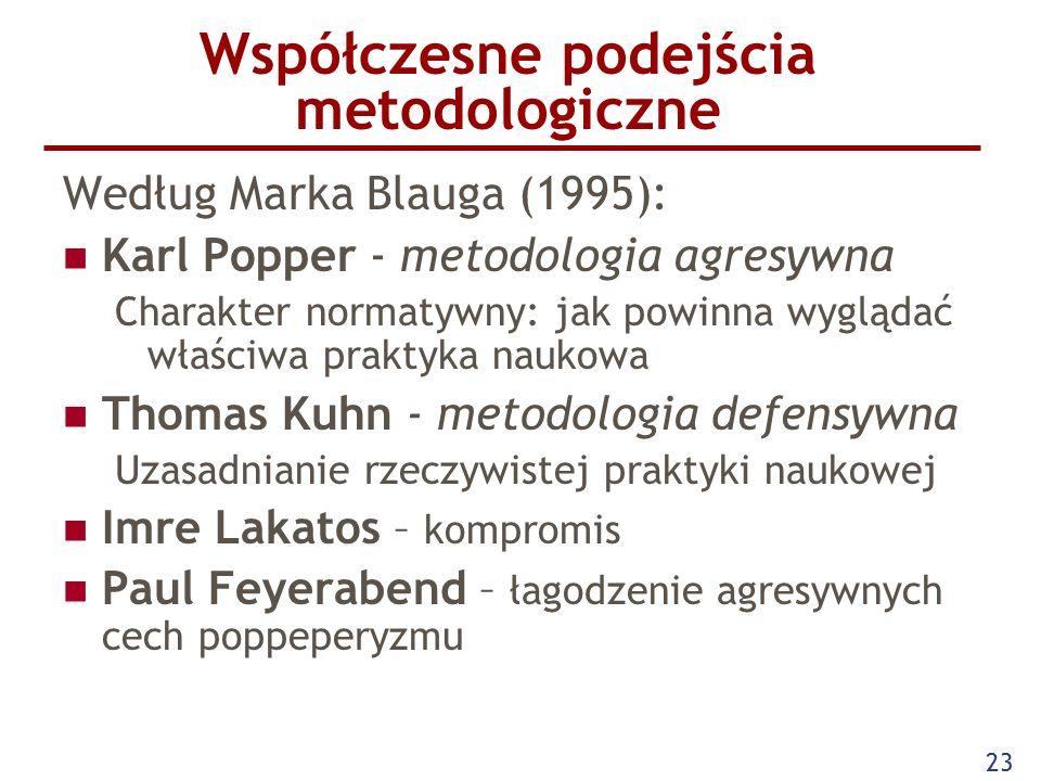 23 Współczesne podejścia metodologiczne Według Marka Blauga (1995): Karl Popper - metodologia agresywna Charakter normatywny: jak powinna wyglądać właściwa praktyka naukowa Thomas Kuhn - metodologia defensywna Uzasadnianie rzeczywistej praktyki naukowej Imre Lakatos – kompromis Paul Feyerabend – łagodzenie agresywnych cech poppeperyzmu