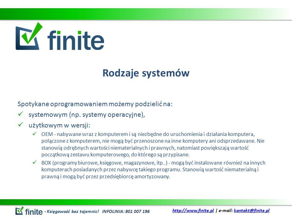 Rodzaje systemów Spotykane oprogramowaniem możemy podzielić na: systemowym (np.