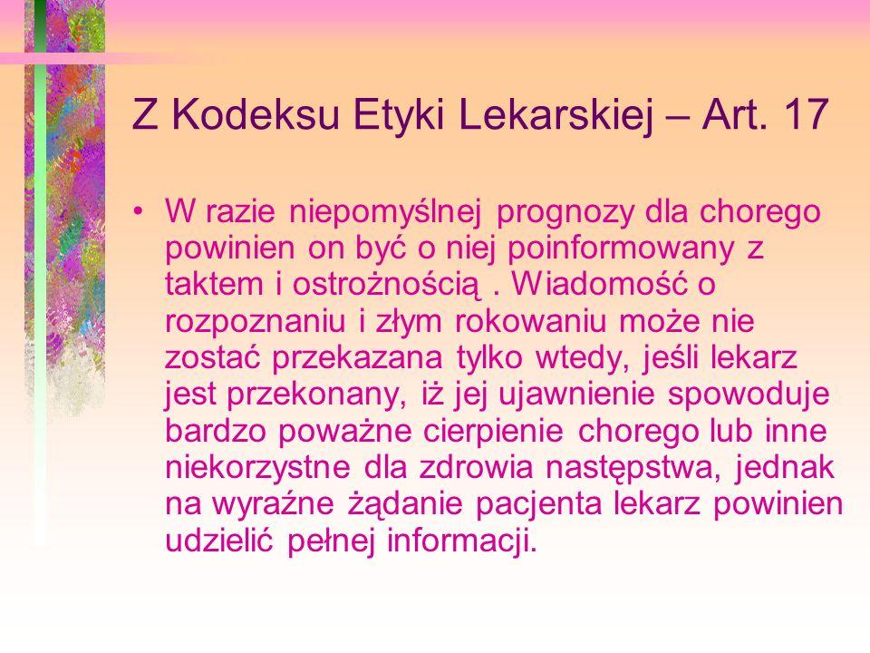 Z Kodeksu Etyki Lekarskiej – Art.
