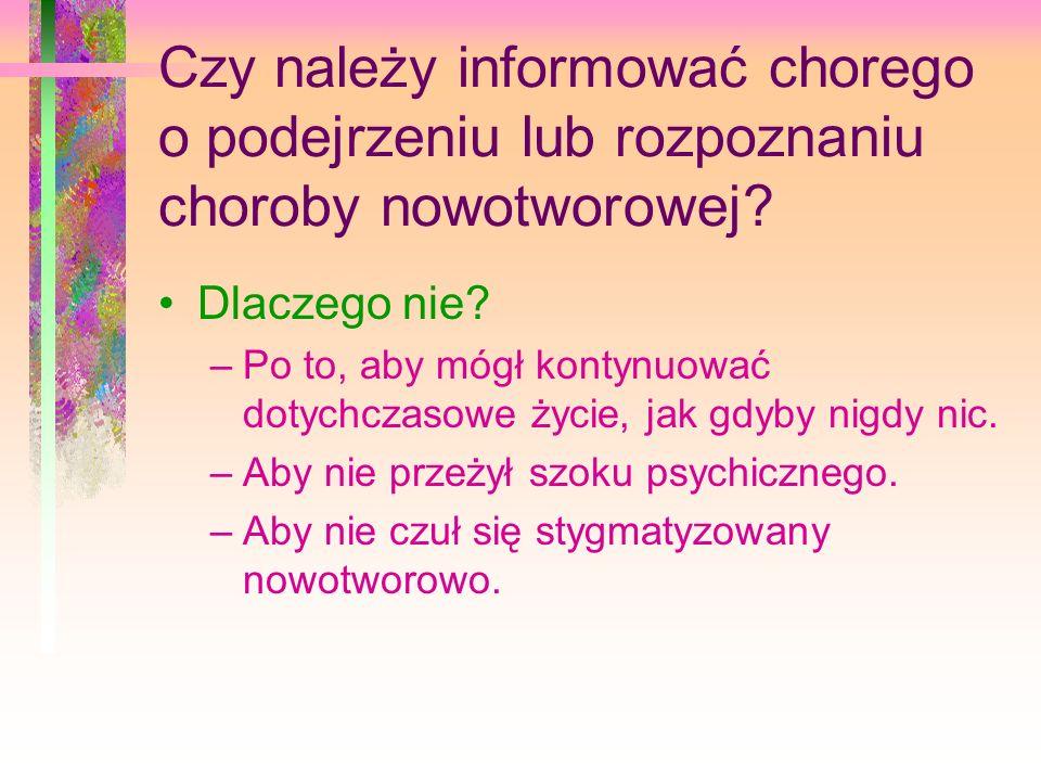 Czy należy informować chorego o podejrzeniu lub rozpoznaniu choroby nowotworowej.