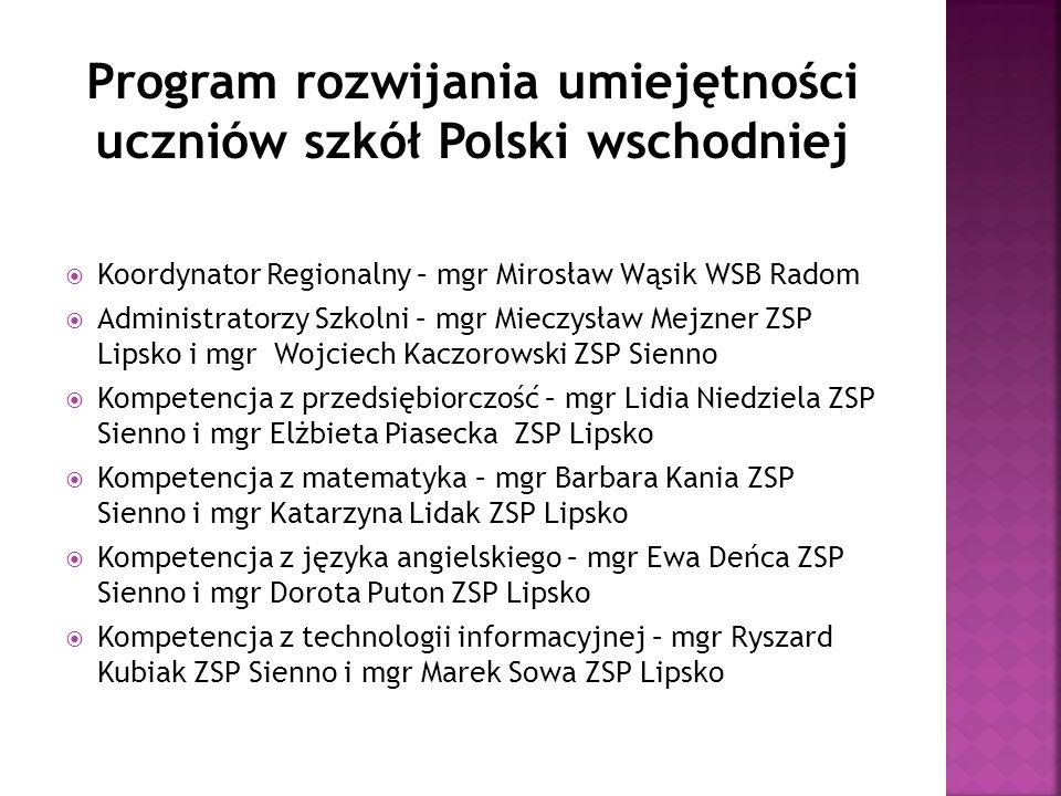 Koordynator Regionalny – mgr Mirosław Wąsik WSB Radom  Administratorzy Szkolni – mgr Mieczysław Mejzner ZSP Lipsko i mgr Wojciech Kaczorowski ZSP S