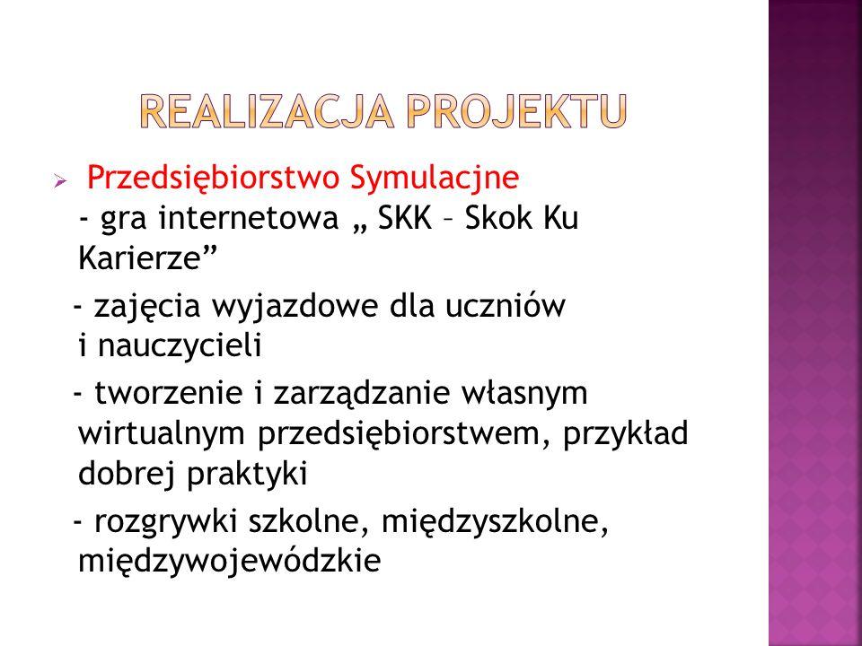 """ Przedsiębiorstwo Symulacjne - gra internetowa """" SKK – Skok Ku Karierze - zajęcia wyjazdowe dla uczniów i nauczycieli - tworzenie i zarządzanie własnym wirtualnym przedsiębiorstwem, przykład dobrej praktyki - rozgrywki szkolne, międzyszkolne, międzywojewódzkie"""