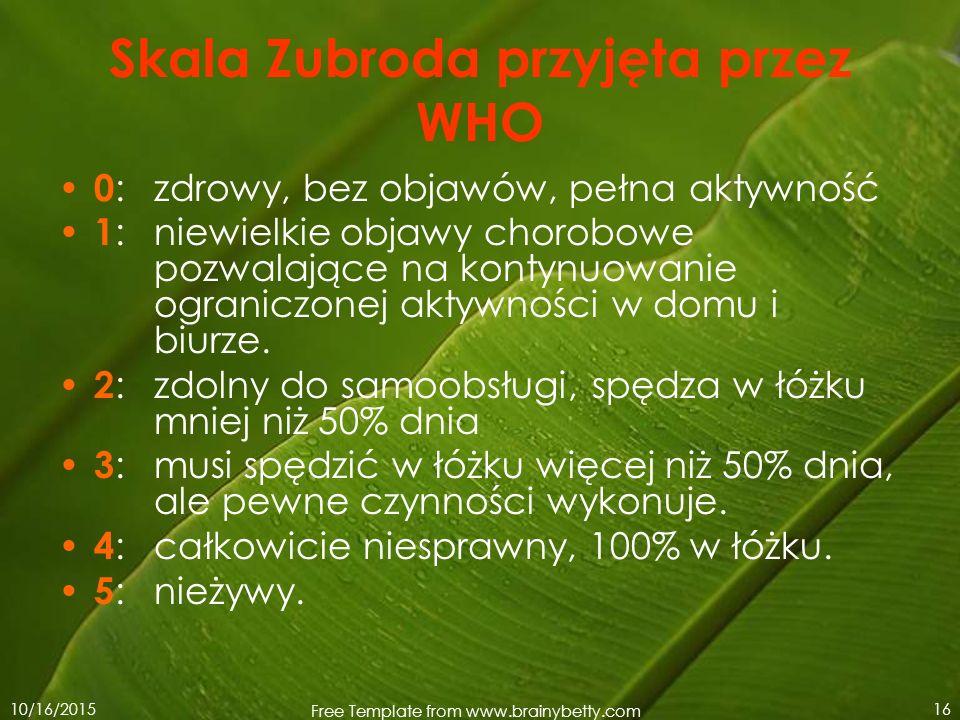 10/16/2015 Free Template from www.brainybetty.com 16 Skala Zubroda przyjęta przez WHO 0 : zdrowy, bez objawów, pełna aktywność 1 : niewielkie objawy c