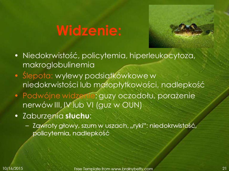 10/16/2015 Free Template from www.brainybetty.com 21 Widzenie: Niedokrwistość, policytemia, hiperleukocytoza, makroglobulinemia Ślepota: wylewy podsia
