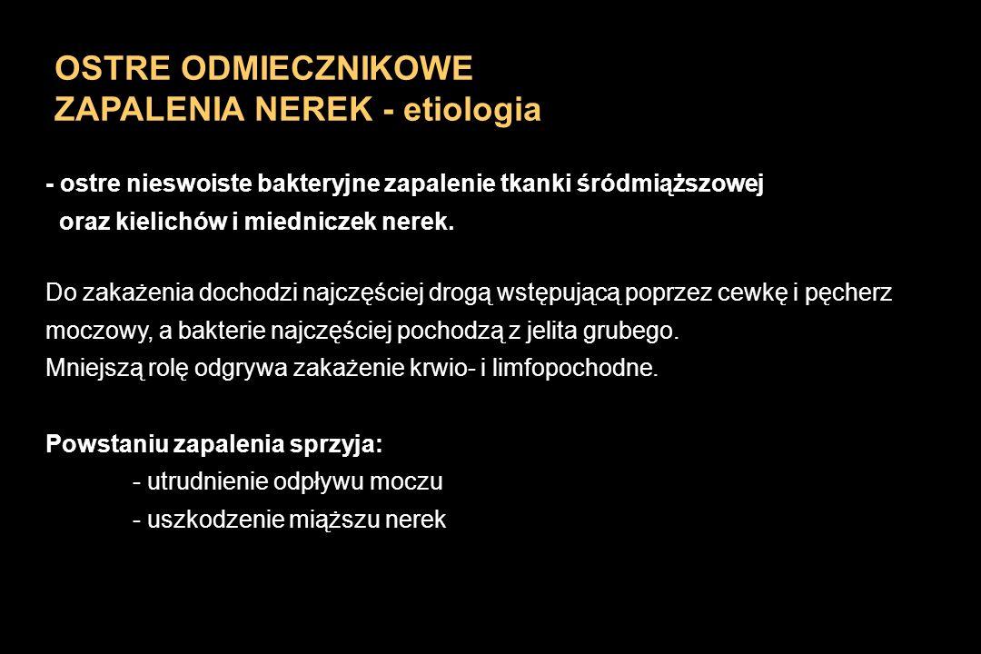 OSTRE ODMIECZNIKOWE ZAPALENIA NEREK - etiologia - ostre nieswoiste bakteryjne zapalenie tkanki śródmiąższowej oraz kielichów i miedniczek nerek. Do za