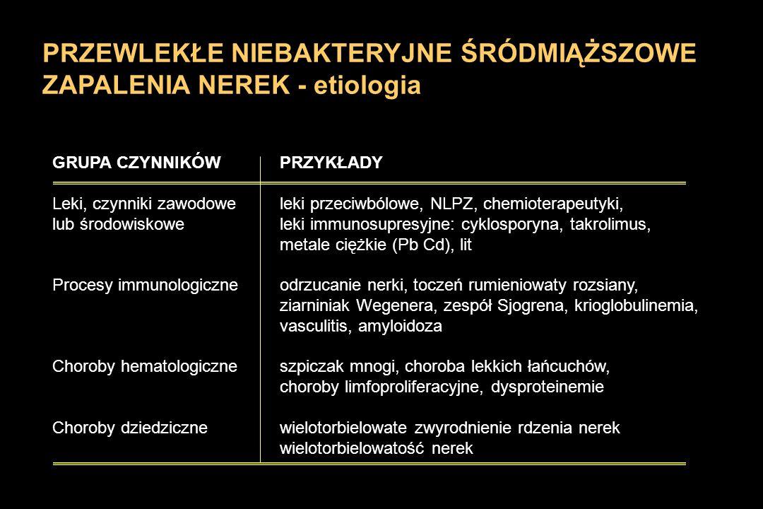 PRZEWLEKŁE NIEBAKTERYJNE ŚRÓDMIĄŻSZOWE ZAPALENIA NEREK - etiologia GRUPA CZYNNIKÓWPRZYKŁADY Leki, czynniki zawodoweleki przeciwbólowe, NLPZ, chemioter