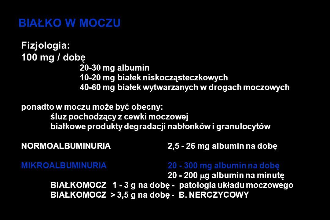 BIAŁKO W MOCZU Fizjologia: 100 mg / dobę 20-30 mg albumin 10-20 mg białek niskocząsteczkowych 40-60 mg białek wytwarzanych w drogach moczowych ponadto