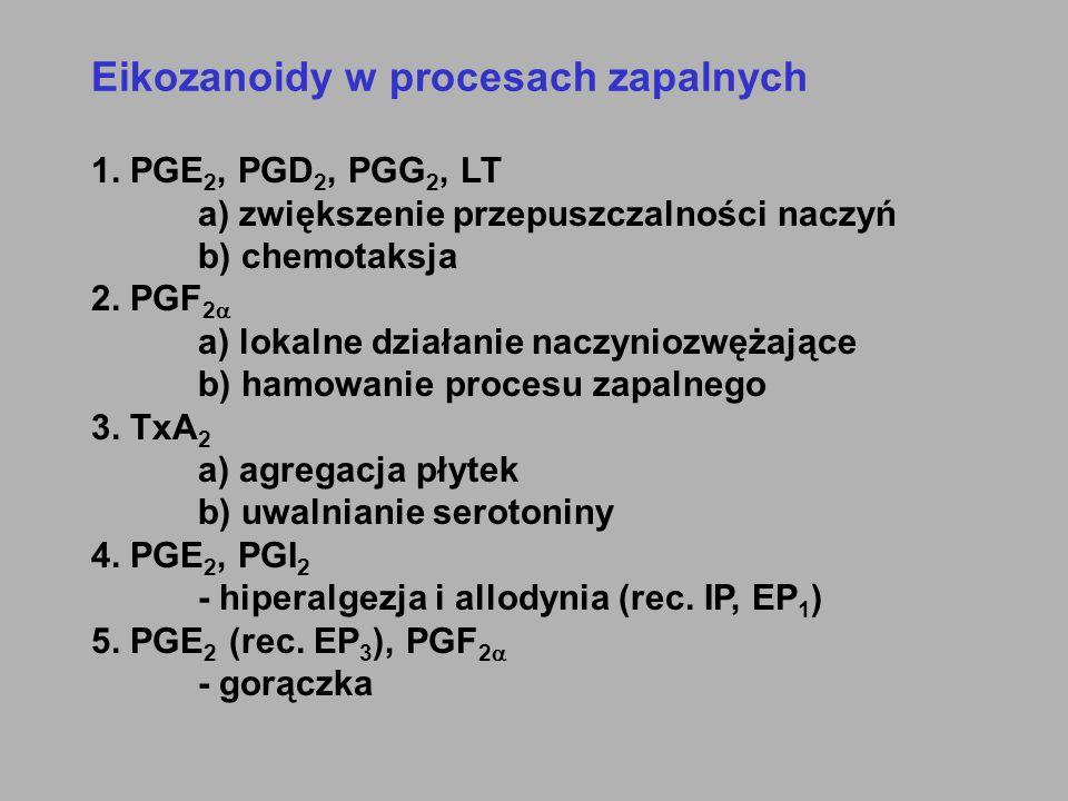 Eikozanoidy w procesach zapalnych 1. PGE 2, PGD 2, PGG 2, LT a) zwiększenie przepuszczalności naczyń b) chemotaksja 2. PGF 2  a) lokalne działanie na