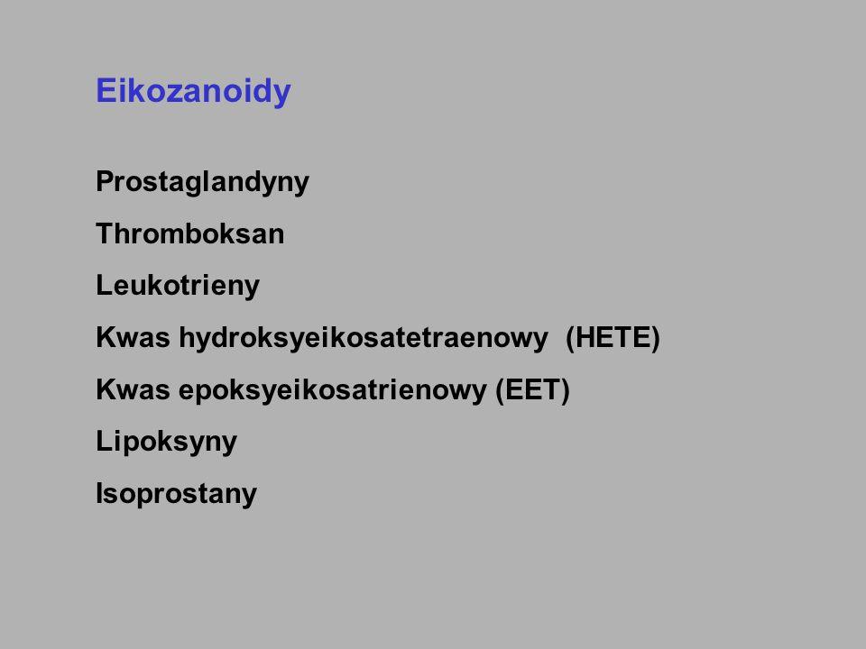 Prekursory eikozanoidów kwas 8, 11, 14 - eikozatrienowy (dihomo-  -linolenowy) kwas 5, 8, 11, 14 - eikozatetraenowy (arachidonowy) kwas 5, 8, 11, 14, 17 - eikozapentaenowy