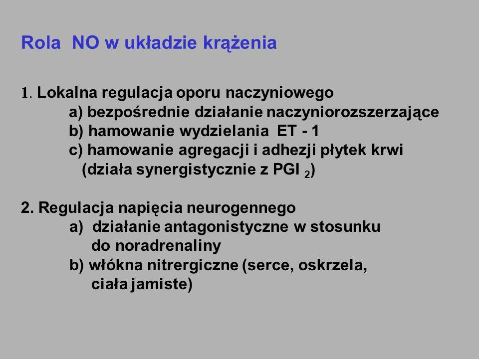 Rola NO w układzie krążenia 1. Lokalna regulacja oporu naczyniowego a) bezpośrednie działanie naczyniorozszerzające b) hamowanie wydzielania ET - 1 c)