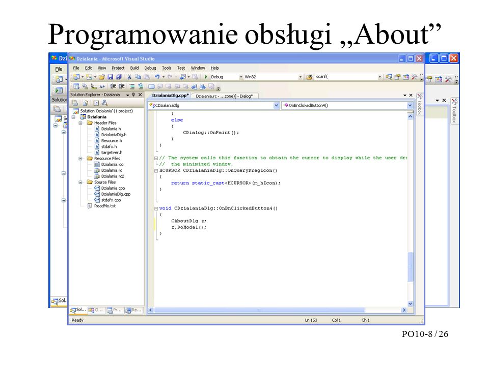 """Programowanie obsługi """"About PO10-8 / 26"""