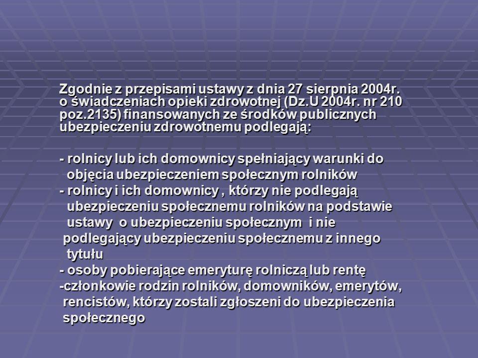 Zgodnie z przepisami ustawy z dnia 27 sierpnia 2004r. o świadczeniach opieki zdrowotnej (Dz.U 2004r. nr 210 poz.2135) finansowanych ze środków publicz