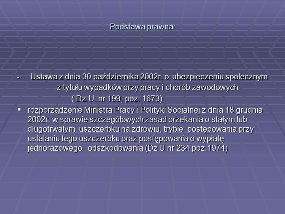 Podstawa prawna:  Ustawa z dnia 30 października 2002r. o ubezpieczeniu społecznym z tytułu wypadków przy pracy i chorób zawodowych ( Dz.U. nr 199, po