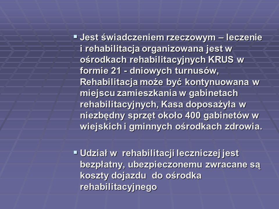  Jest świadczeniem rzeczowym – leczenie i rehabilitacja organizowana jest w ośrodkach rehabilitacyjnych KRUS w formie 21 - dniowych turnusów, Rehabil