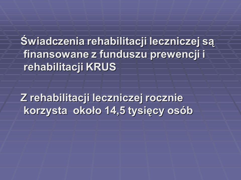 Świadczenia rehabilitacji leczniczej są finansowane z funduszu prewencji i rehabilitacji KRUS Świadczenia rehabilitacji leczniczej są finansowane z fu