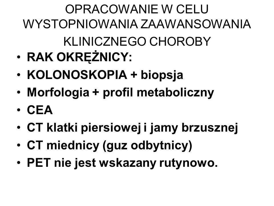 OPRACOWANIE W CELU WYSTOPNIOWANIA ZAAWANSOWANIA KLINICZNEGO CHOROBY RAK OKRĘŻNICY: KOLONOSKOPIA + biopsja Morfologia + profil metaboliczny CEA CT klatki piersiowej i jamy brzusznej CT miednicy (guz odbytnicy) PET nie jest wskazany rutynowo.