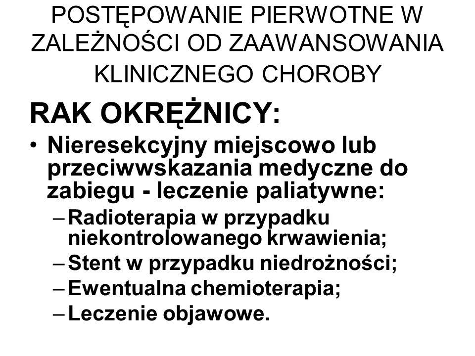 POSTĘPOWANIE PIERWOTNE W ZALEŻNOŚCI OD ZAAWANSOWANIA KLINICZNEGO CHOROBY RAK OKRĘŻNICY: Nieresekcyjny miejscowo lub przeciwwskazania medyczne do zabiegu - leczenie paliatywne: –Radioterapia w przypadku niekontrolowanego krwawienia; –Stent w przypadku niedrożności; –Ewentualna chemioterapia; –Leczenie objawowe.