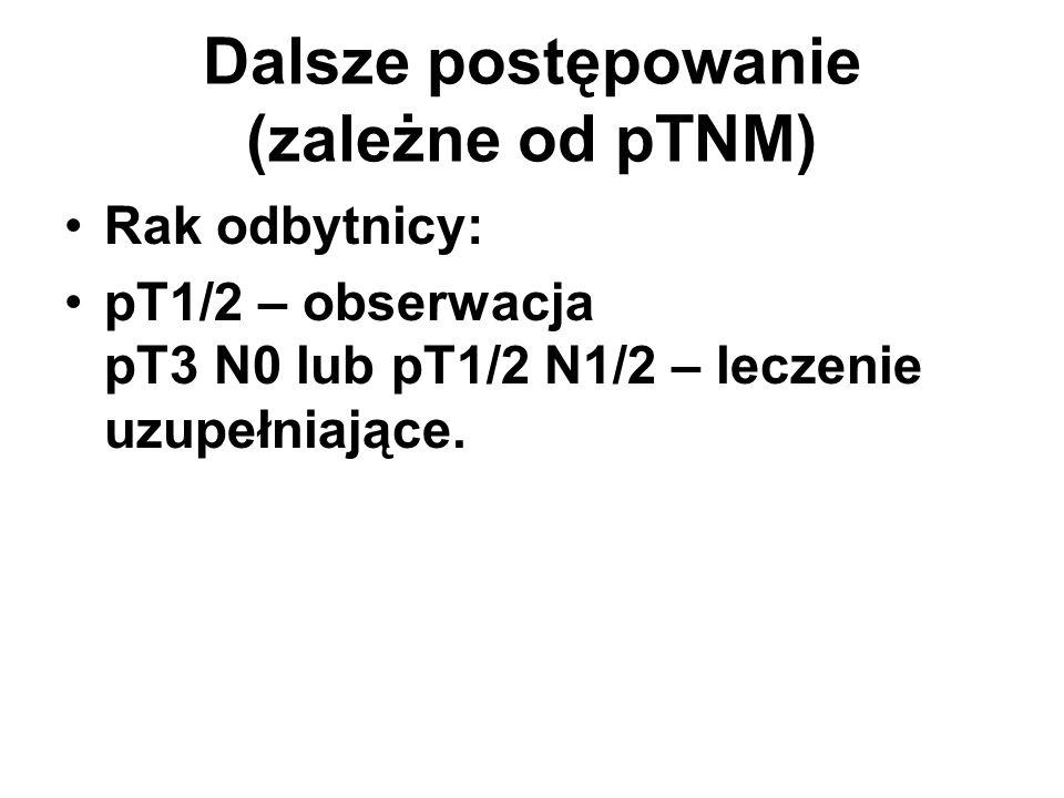 Dalsze postępowanie (zależne od pTNM) Rak odbytnicy: pT1/2 – obserwacja pT3 N0 lub pT1/2 N1/2 – leczenie uzupełniające.