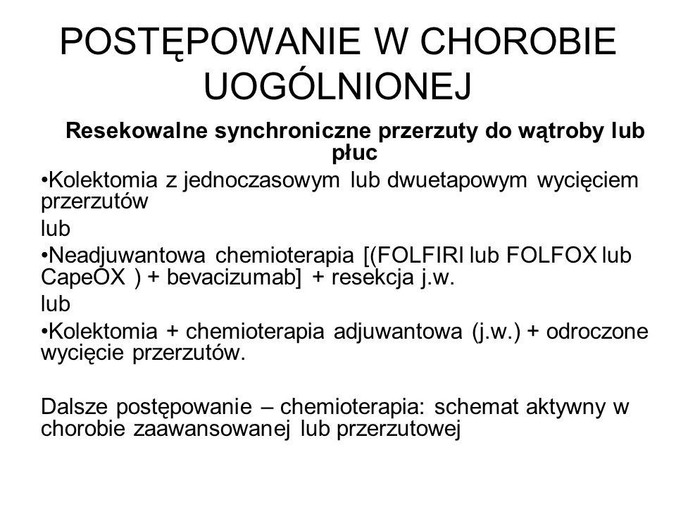 POSTĘPOWANIE W CHOROBIE UOGÓLNIONEJ Resekowalne synchroniczne przerzuty do wątroby lub płuc Kolektomia z jednoczasowym lub dwuetapowym wycięciem przerzutów lub Neadjuwantowa chemioterapia [(FOLFIRI lub FOLFOX lub CapeOX ) + bevacizumab] + resekcja j.w.