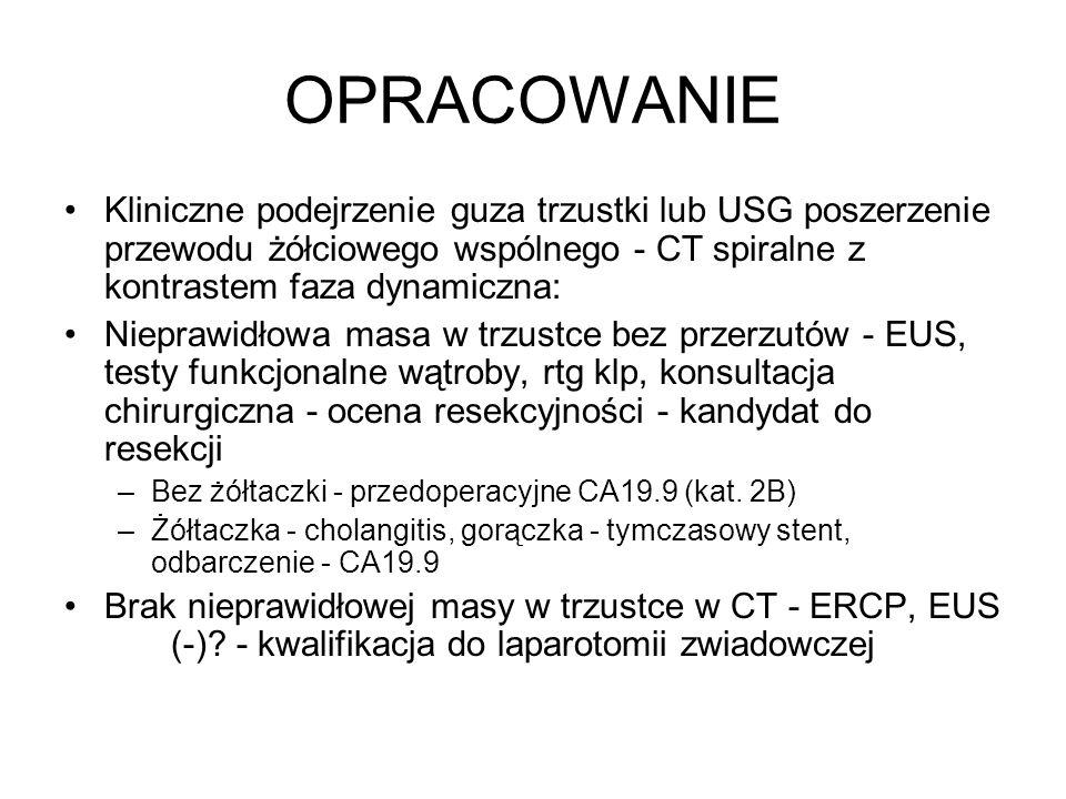 OPRACOWANIE Kliniczne podejrzenie guza trzustki lub USG poszerzenie przewodu żółciowego wspólnego - CT spiralne z kontrastem faza dynamiczna: Nieprawidłowa masa w trzustce bez przerzutów - EUS, testy funkcjonalne wątroby, rtg klp, konsultacja chirurgiczna - ocena resekcyjności - kandydat do resekcji –Bez żółtaczki - przedoperacyjne CA19.9 (kat.
