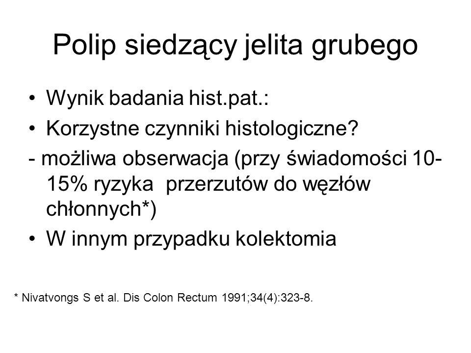 Polip siedzący jelita grubego Wynik badania hist.pat.: Korzystne czynniki histologiczne.
