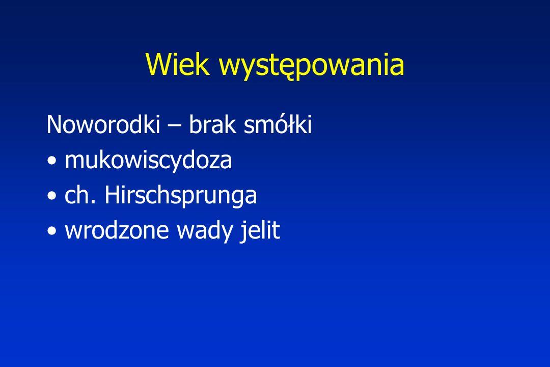Wiek występowania Noworodki – brak smółki mukowiscydoza ch. Hirschsprunga wrodzone wady jelit