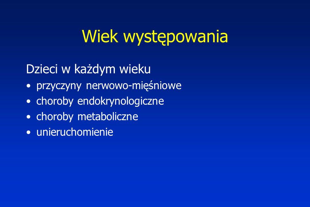 Wiek występowania Dzieci w każdym wieku przyczyny nerwowo-mięśniowe choroby endokrynologiczne choroby metaboliczne unieruchomienie