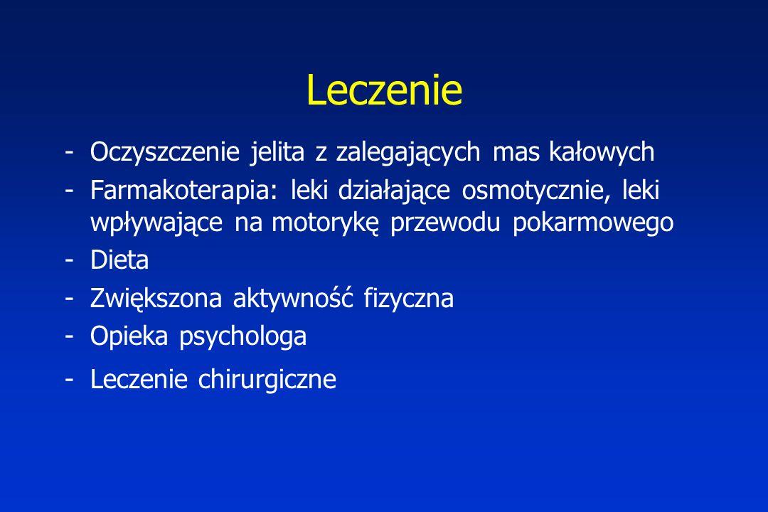 Leczenie -Oczyszczenie jelita z zalegających mas kałowych -Farmakoterapia: leki działające osmotycznie, leki wpływające na motorykę przewodu pokarmowego -Dieta -Zwiększona aktywność fizyczna -Opieka psychologa -Leczenie chirurgiczne
