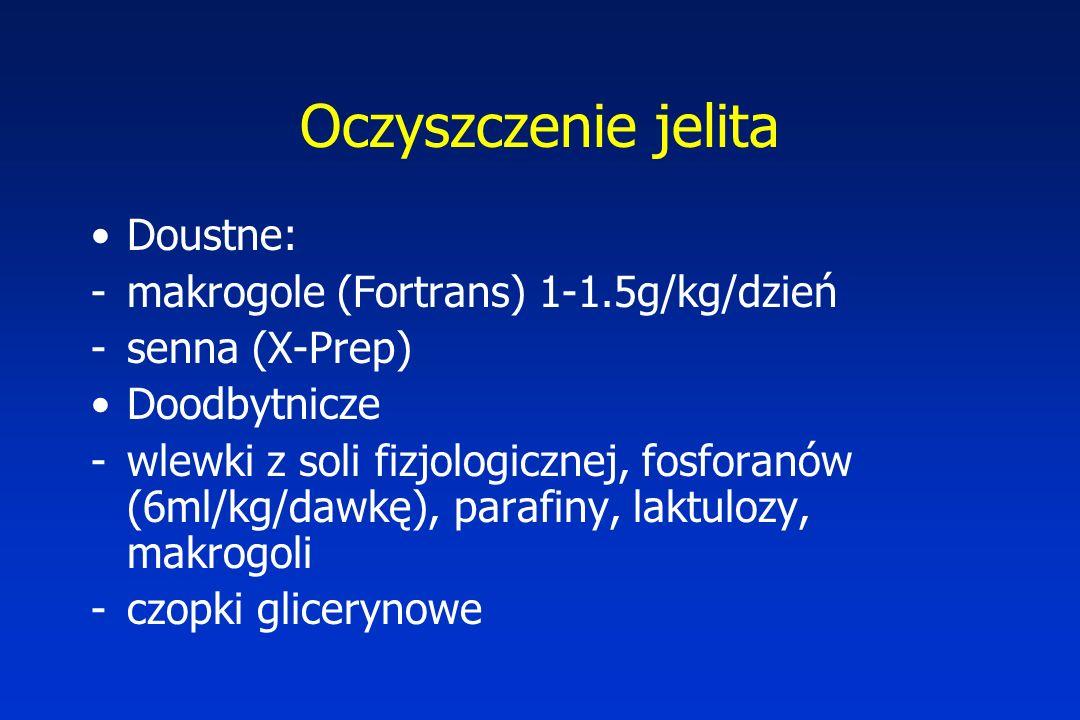 Oczyszczenie jelita Doustne: -makrogole (Fortrans) 1-1.5g/kg/dzień -senna (X-Prep) Doodbytnicze -wlewki z soli fizjologicznej, fosforanów (6ml/kg/dawkę), parafiny, laktulozy, makrogoli -czopki glicerynowe