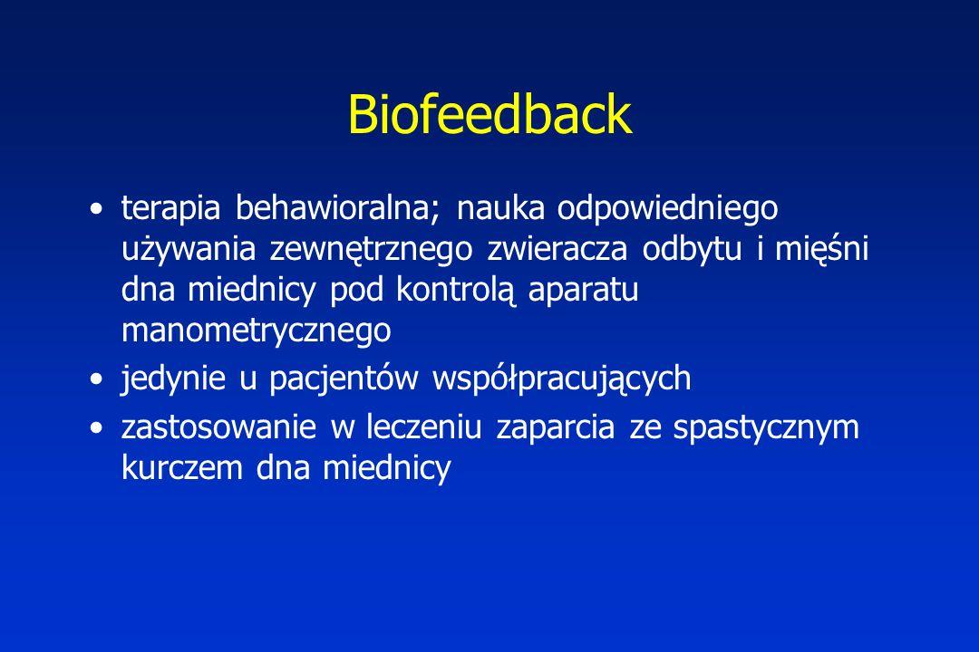 Biofeedback terapia behawioralna; nauka odpowiedniego używania zewnętrznego zwieracza odbytu i mięśni dna miednicy pod kontrolą aparatu manometrycznego jedynie u pacjentów współpracujących zastosowanie w leczeniu zaparcia ze spastycznym kurczem dna miednicy