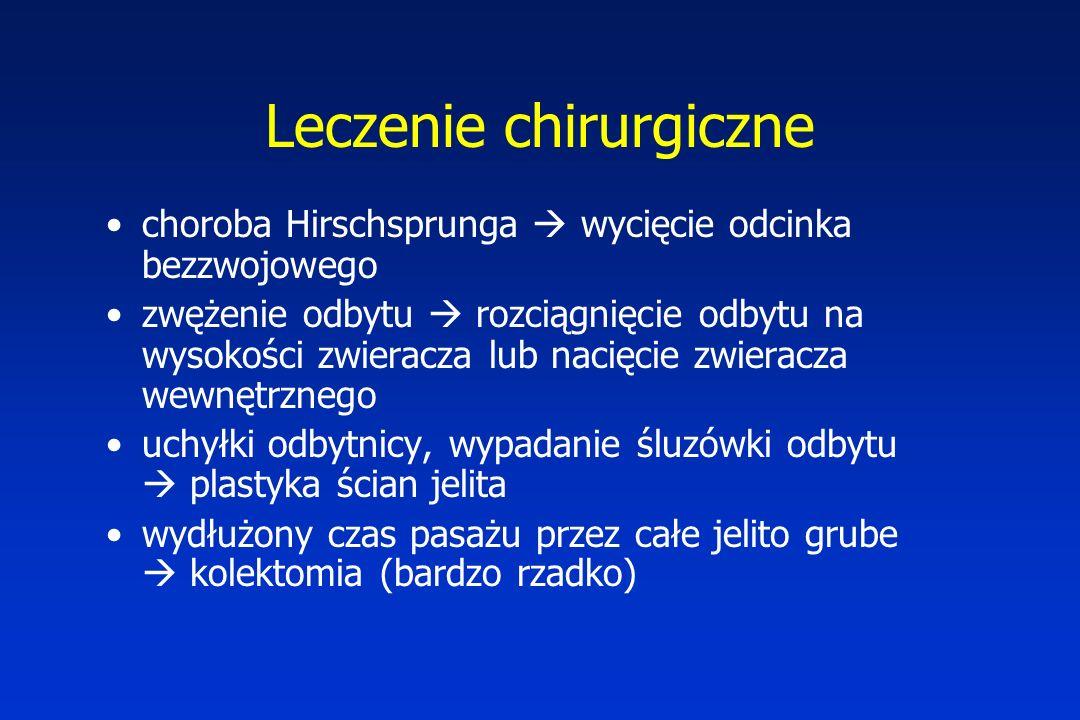 Leczenie chirurgiczne choroba Hirschsprunga  wycięcie odcinka bezzwojowego zwężenie odbytu  rozciągnięcie odbytu na wysokości zwieracza lub nacięcie zwieracza wewnętrznego uchyłki odbytnicy, wypadanie śluzówki odbytu  plastyka ścian jelita wydłużony czas pasażu przez całe jelito grube  kolektomia (bardzo rzadko)