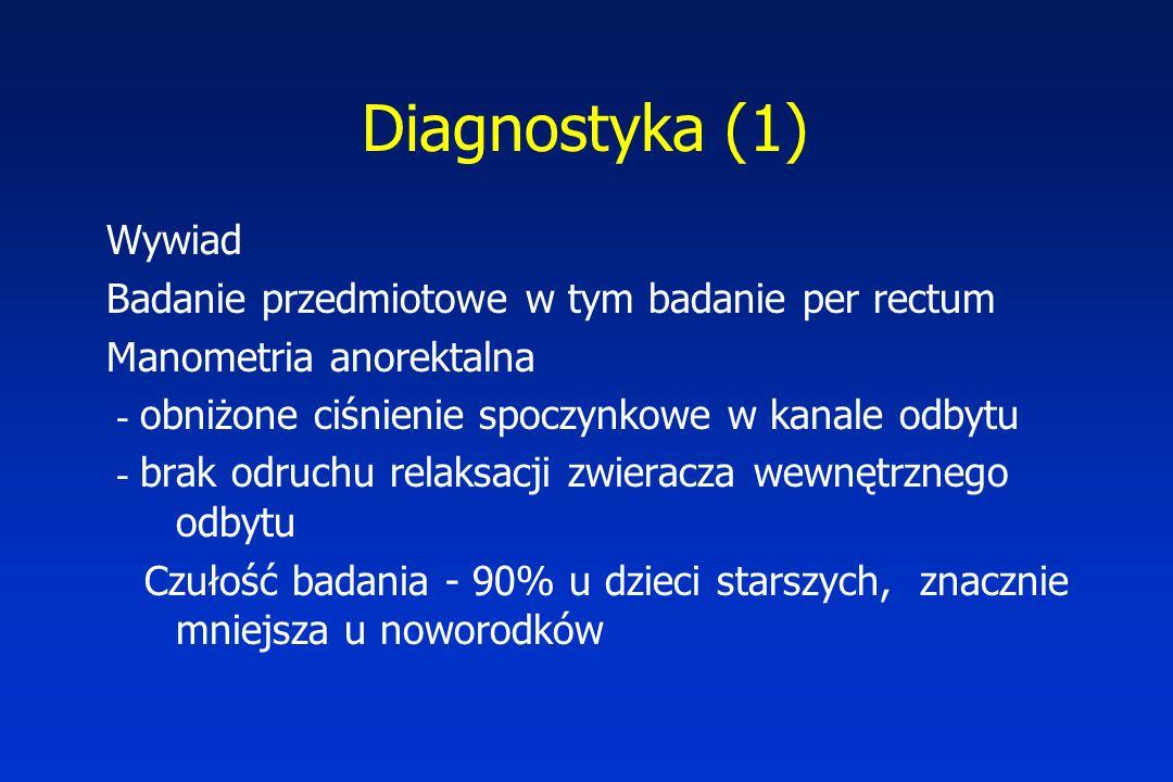 Diagnostyka (1) Wywiad Badanie przedmiotowe w tym badanie per rectum Manometria anorektalna - obniżone ciśnienie spoczynkowe w kanale odbytu - brak od