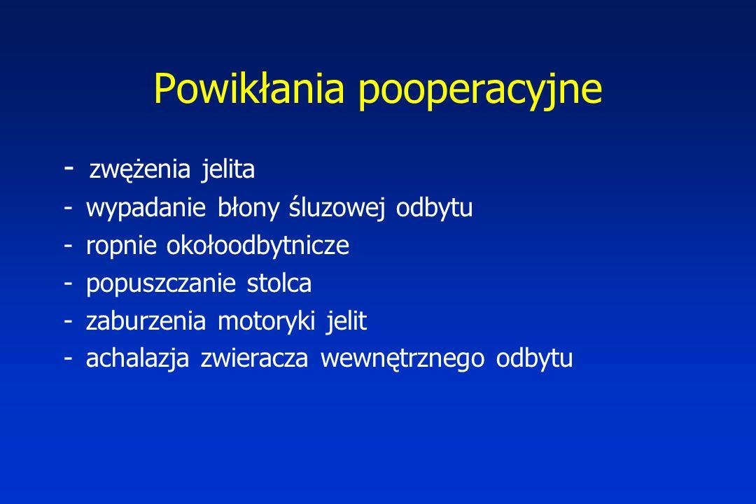 Powikłania pooperacyjne - zwężenia jelita - wypadanie błony śluzowej odbytu - ropnie okołoodbytnicze - popuszczanie stolca - zaburzenia motoryki jelit - achalazja zwieracza wewnętrznego odbytu