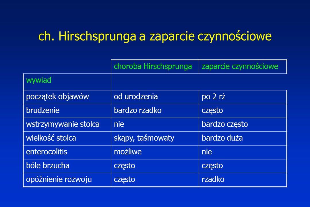 ch. Hirschsprunga a zaparcie czynnościowe choroba Hirschsprungazaparcie czynnościowe wywiad początek objawówod urodzeniapo 2 rż brudzeniebardzo rzadko