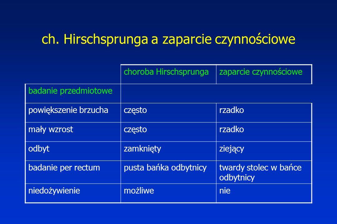 ch. Hirschsprunga a zaparcie czynnościowe choroba Hirschsprungazaparcie czynnościowe badanie przedmiotowe powiększenie brzuchaczęstorzadko mały wzrost