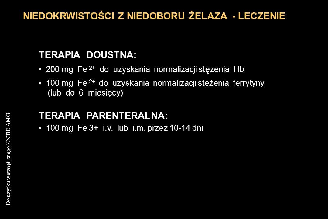 Do użytku wewnętrznego KNTiD AMG NIEDOKRWISTOŚCI Z NIEDOBORU ŻELAZA - LECZENIE TERAPIA DOUSTNA: 200 mg Fe 2+ do uzyskania normalizacji stężenia Hb 100