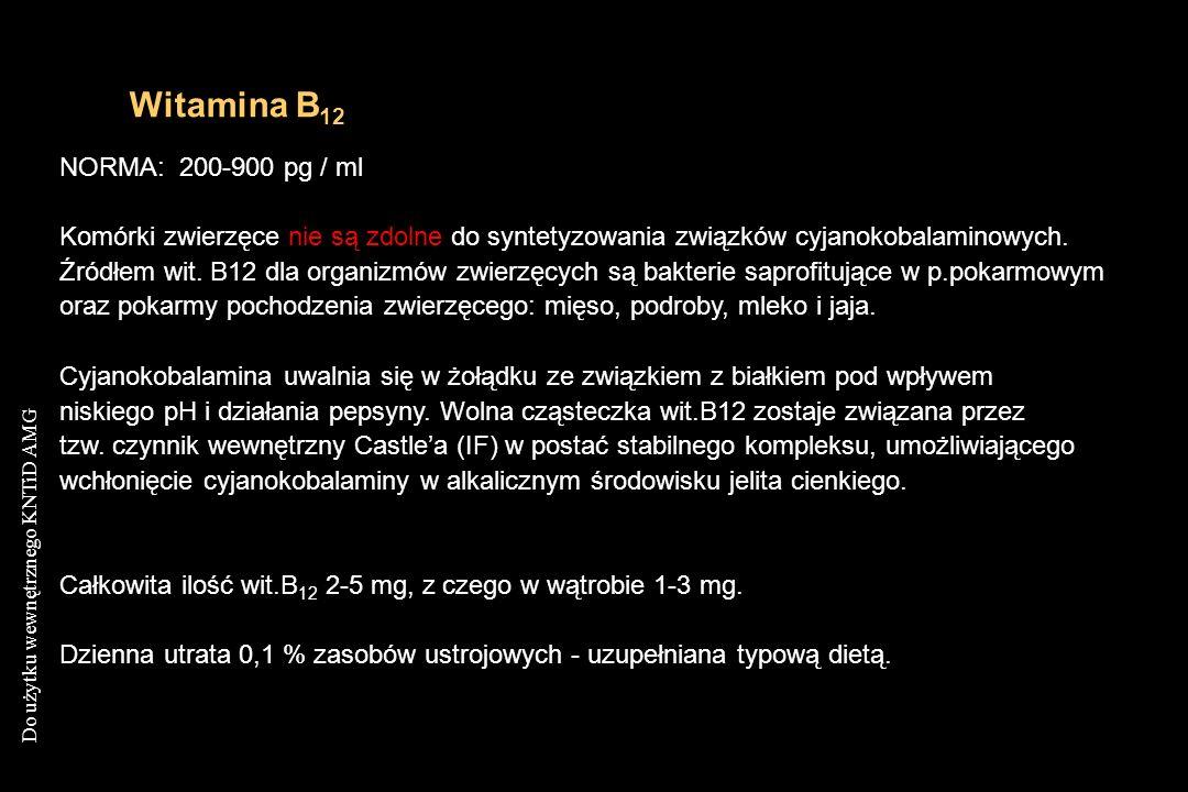 Do użytku wewnętrznego KNTiD AMG Witamina B 12 NORMA: 200-900 pg / ml Komórki zwierzęce nie są zdolne do syntetyzowania związków cyjanokobalaminowych.