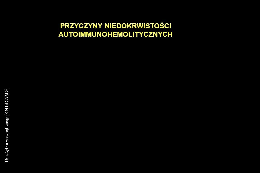 Do użytku wewnętrznego KNTiD AMG PRZYCZYNY NIEDOKRWISTOŚCI AUTOIMMUNOHEMOLITYCZNYCH