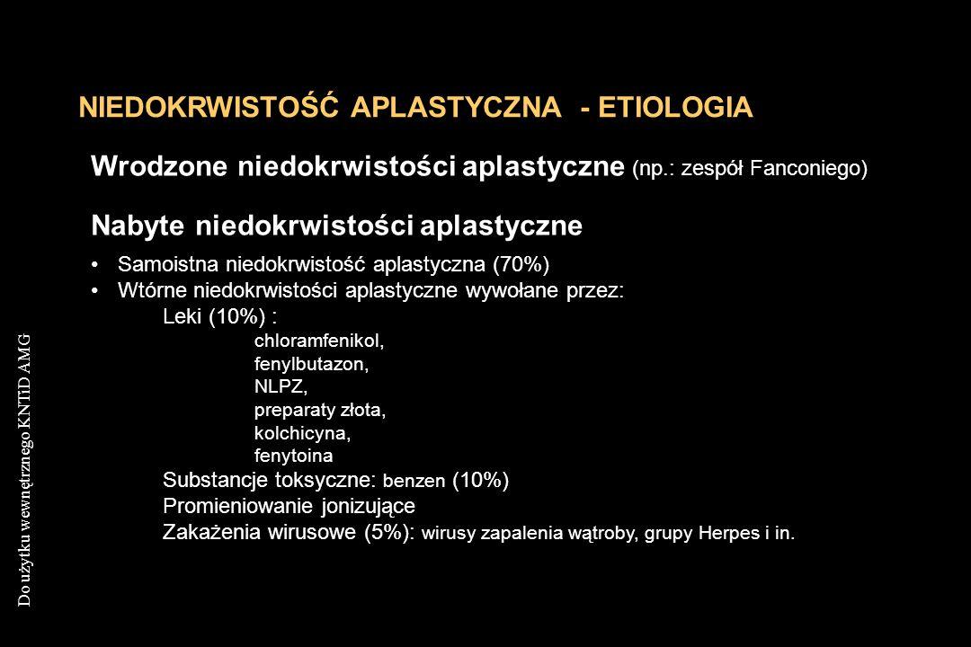 Do użytku wewnętrznego KNTiD AMG NIEDOKRWISTOŚĆ APLASTYCZNA - ETIOLOGIA Wrodzone niedokrwistości aplastyczne (np.: zespół Fanconiego) Nabyte niedokrwi