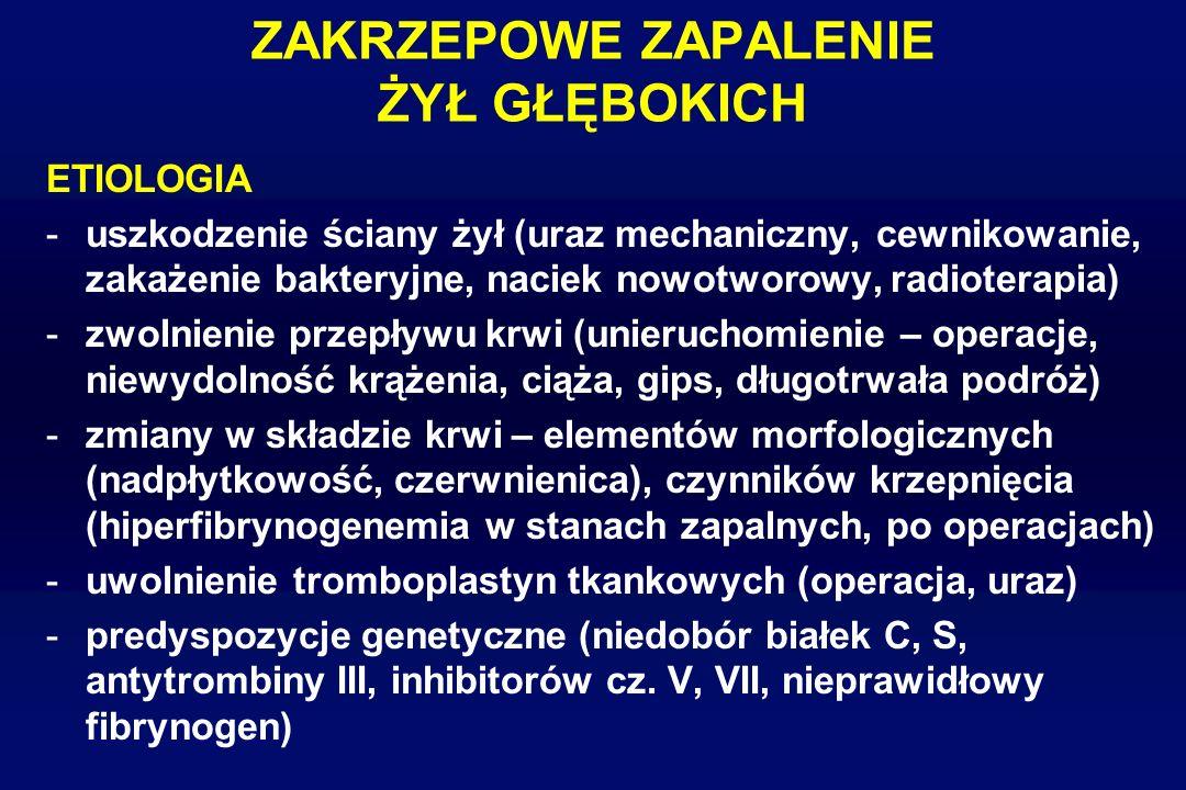ZAKRZEPOWE ZAPALENIE ŻYŁ GŁĘBOKICH ETIOLOGIA -uszkodzenie ściany żył (uraz mechaniczny, cewnikowanie, zakażenie bakteryjne, naciek nowotworowy, radiot