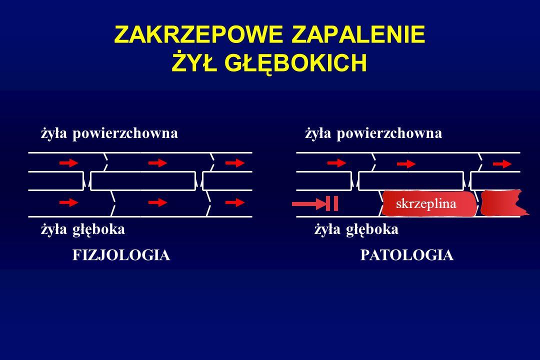 ZAKRZEPOWE ZAPALENIE ŻYŁ GŁĘBOKICH CZYNNIKI RYZYKA – CIĄŻA - spadek aktywności fibrynolitycznej osocza (wzrost PAI) - zastój żylny (powiększona macica) - wzrost poziomów cz.