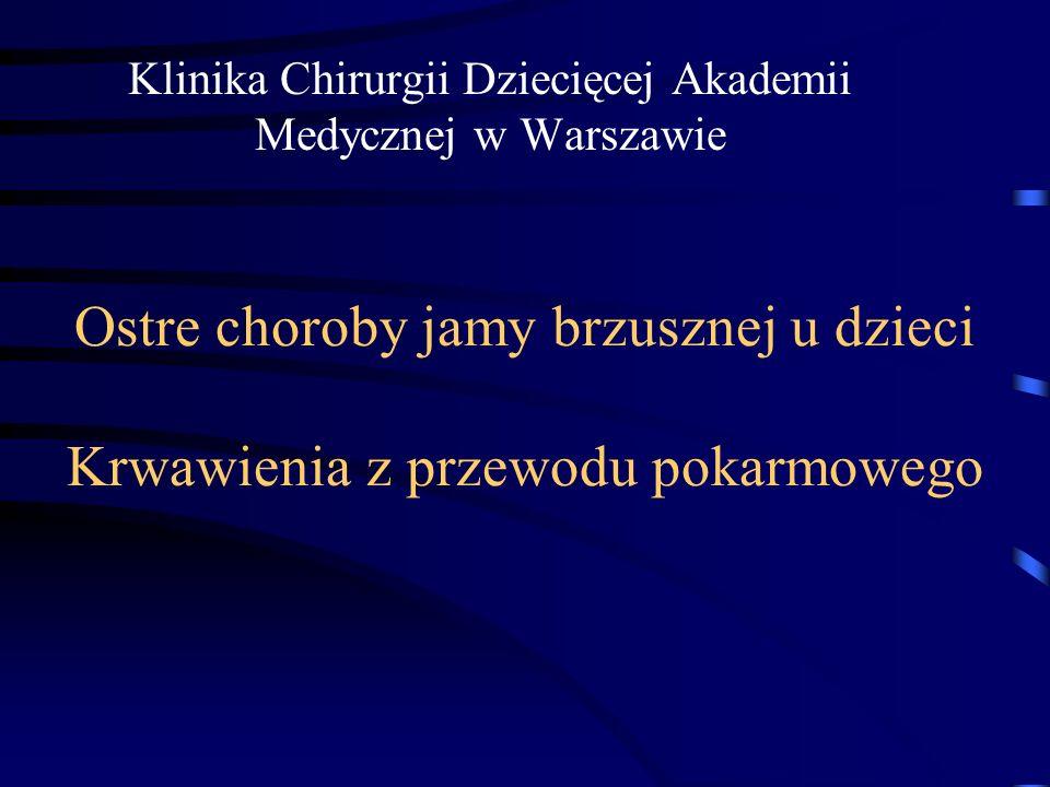 Ostre choroby jamy brzusznej u dzieci Krwawienia z przewodu pokarmowego Klinika Chirurgii Dziecięcej Akademii Medycznej w Warszawie