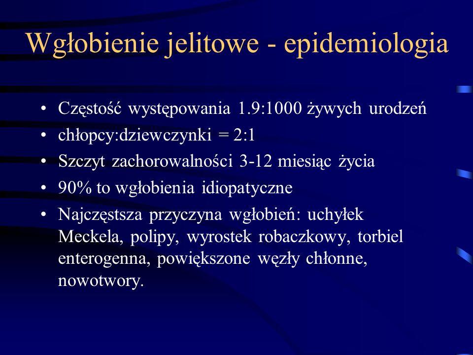 Wgłobienie jelitowe - epidemiologia Częstość występowania 1.9:1000 żywych urodzeń chłopcy:dziewczynki = 2:1 Szczyt zachorowalności 3-12 miesiąc życia
