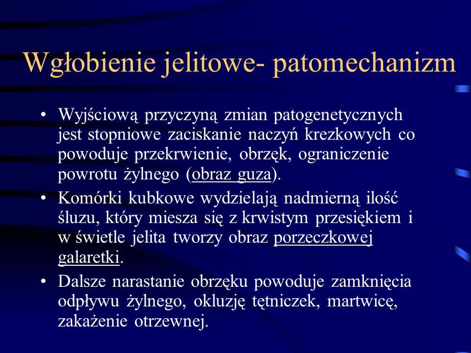 Wgłobienie jelitowe- patomechanizm Wyjściową przyczyną zmian patogenetycznych jest stopniowe zaciskanie naczyń krezkowych co powoduje przekrwienie, ob