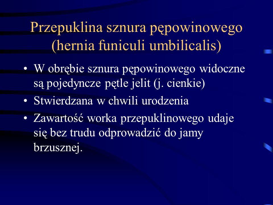 Przepuklina sznura pępowinowego (hernia funiculi umbilicalis) W obrębie sznura pępowinowego widoczne są pojedyncze pętle jelit (j. cienkie) Stwierdzan