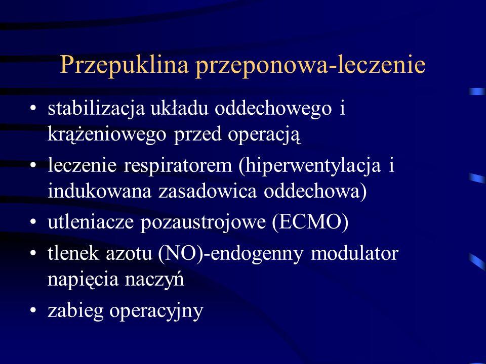 Przepuklina przeponowa-leczenie stabilizacja układu oddechowego i krążeniowego przed operacją leczenie respiratorem (hiperwentylacja i indukowana zasa